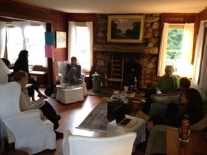 Pond House September Retreat, 2012. We gather around the 1900's fieldstone fireplace to write. The fire rages on the page and in the room.