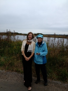 Dede (left) and Cardy Raper, PhD, one of last year's participants, on a walk to Trustom Pond near the Pond House.