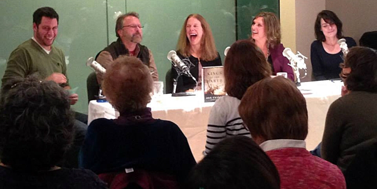 From Left to Right: Peter Biello, Jon Clinch, Dede Cummings (laughing to Jon's story about something!), Jessica Swift Eldridge, and Jan Elizabeth Watson.