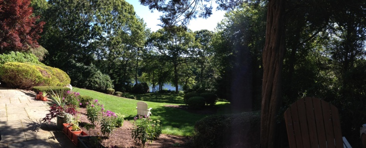 Here is our view from the terrace of the house. We have almost 900 feet of private waterfront, and a sweet little boathouse with a balcony over the water where you can meet with our writing shaman, Suzanne Kingsbury.